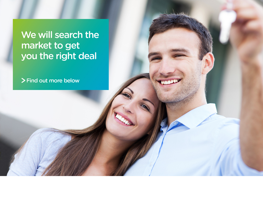 "Happy couple taking out a mortgage ""we will search the market to get you the right deal"""