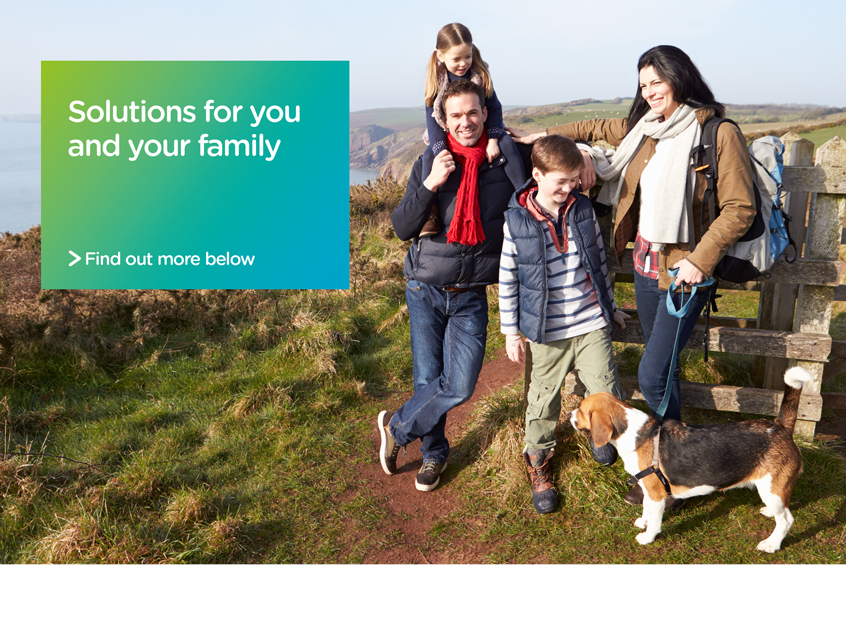 "happy family walking their dog in St Helens ""solutions for you and your family"""